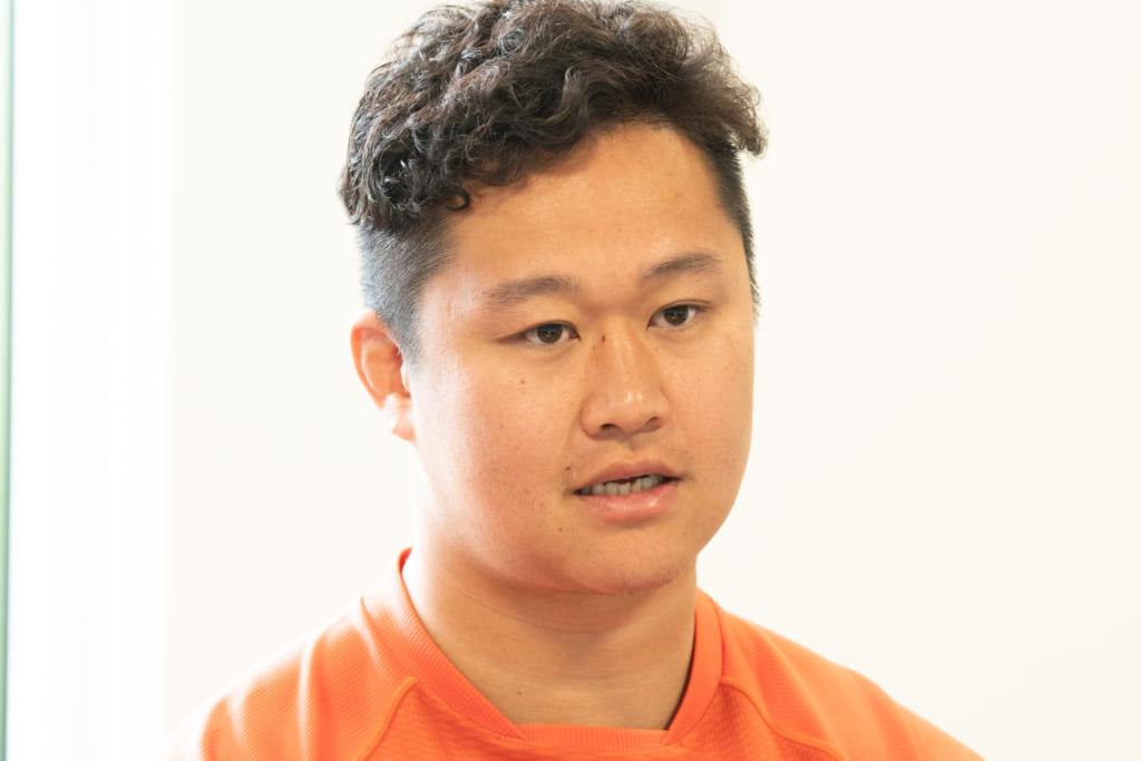 ラグビーについて熱く語る徳田選手